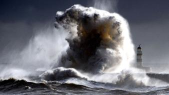 Waves storm brown lighthouses angry surge sea wallpaper