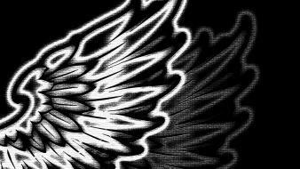 Wings black dark mosaic digital art desing wallpaper