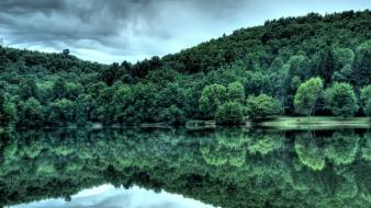 Green nature trees forest lakes skyscapes atmospheric wallpaper