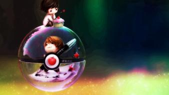 Light multicolor chibi digital art photomanipulation pokeball wallpaper