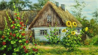 Paintings flowers garden cottage thatched roof wallpaper