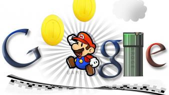 Super mario google paper sign wallpaper