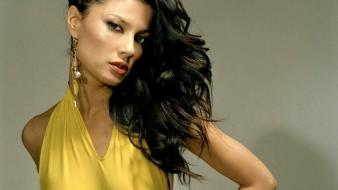 Women models yellow dress natassia malthe faces wallpaper