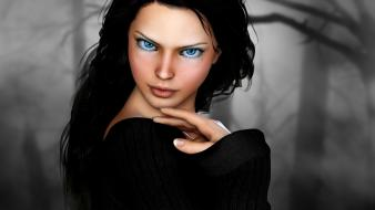 3d blue eyes paintings Wallpaper