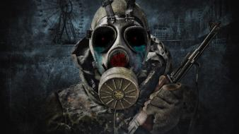 Ak 47 gas masks glowing eyes post-apocalyptic red wallpaper