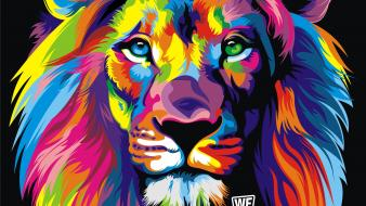Animals artistic artwork lions multicolor wallpaper