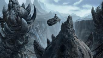 Artistic digital art mountains science fiction spaceships wallpaper
