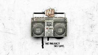 Artwork hands music speakers wallpaper