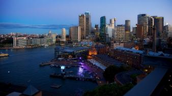 Australia sydney twilight architecture bay Wallpaper