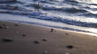 Beaches depth of field pebbles sea shorelines wallpaper