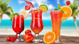 Beverages cocktail drinks lemons nature wallpaper