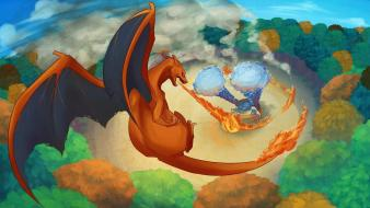 Blastoise charizard pokemon fire video games wallpaper