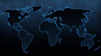 Blue continents maps world map Wallpaper