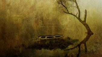 Boats trees vintage water wallpaper