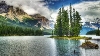 Canada jasper national park maligne lake blue brown wallpaper