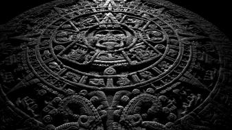 Circles aztec ancient monochrome historic calendar stone Wallpaper
