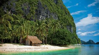 Cliff phillipines beaches beige blue wallpaper
