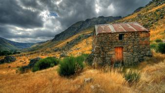 Clouds landscapes mountains nature old house wallpaper