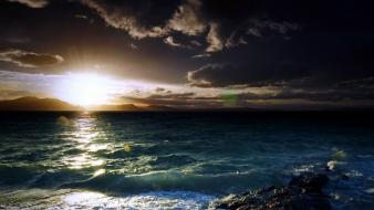 Clouds landscapes nature sea Wallpaper