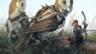 Cyborgs archers weapons owls technics warriors archer wallpaper