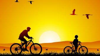 Cycling at sunset pictures wallpaper