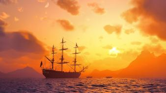 Digital art mountains sail ship sea ships wallpaper