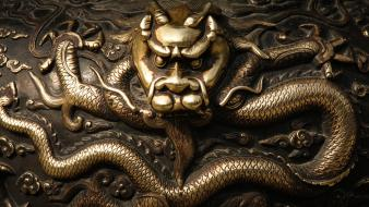 Dragons metallic oriental bronze asian art wallpaper