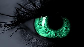 Eyes green selective coloring Wallpaper