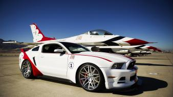 F-16 fighting falcon ford mustang thunderbirds (squadron) cars wallpaper