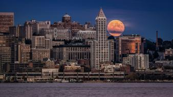 Full moon seattle cityscapes night Wallpaper