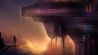 Futuristic silhouettes buildings scenic science fiction skies Wallpaper