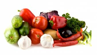 Garlic peppers tomatoes vegetables wallpaper