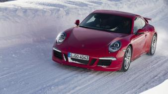 Ice snow red cars driving porsche 911 Wallpaper