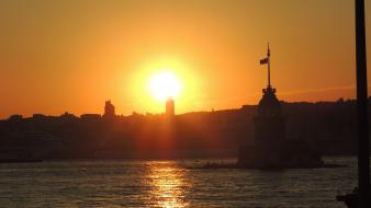 Istanbul kiz kulesi maidens tower sunset wallpaper