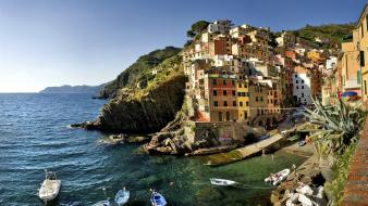 Italy riomaggiore boats landscapes nature wallpaper