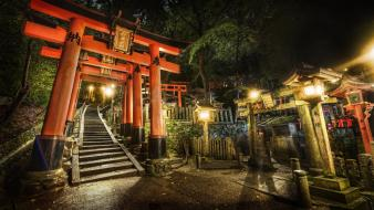 Japan night stairways shrine torii gate wallpaper