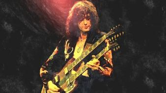 Jimmy page led zeppelin guitars light shade wallpaper