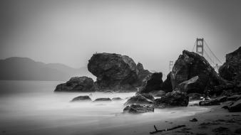 Landscapes coast rocks mist bridges greyscale sea wallpaper