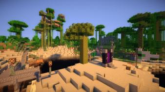 Landscapes jungle bridges minecraft shaders wallpaper