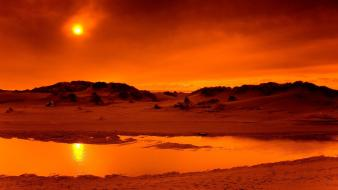 Landscapes sun orange sand dunes wallpaper