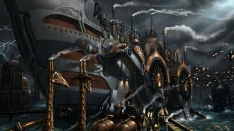 Machines mechanical science fiction smoke steampunk wallpaper