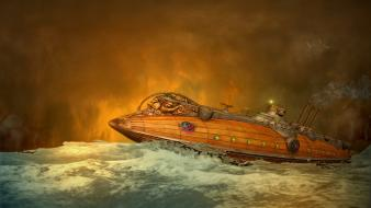 Nautilus science fiction steampunk submarine water wallpaper