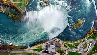 Niagara falls aerial view blue buildings cliffs wallpaper