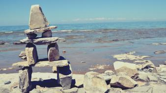 Ocean nature rocks lakes beach inukshuk wallpaper