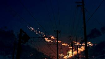 Outdoors scenic power lines skyscapes skies sundown Wallpaper