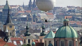 Prague balloons cityscapes hot air Wallpaper