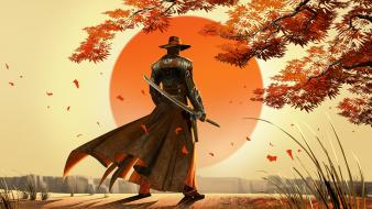 Red steel 2 artwork cowboy hats male samurai wallpaper