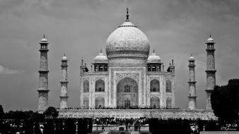 Taj mahal black and white buildings wallpaper