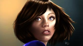 Video games artwork bioshock infinite faces elizabeth comstock wallpaper