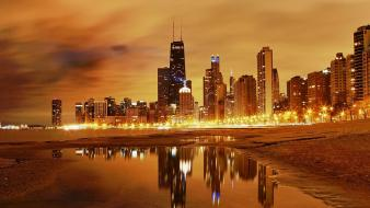 Water sunset cityscapes chicago night buildings lakes wallpaper